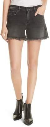 Frame Le Cutoff Shredded Raw Denim Shorts