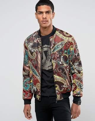 Versace Bomber Jacket In Paisley Print