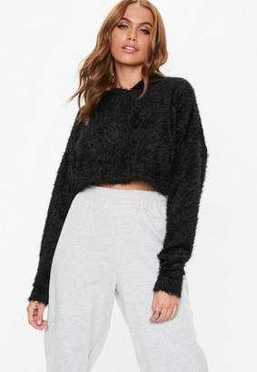 Missguided Petite Black Fluffy Hooded Cropped Sweater
