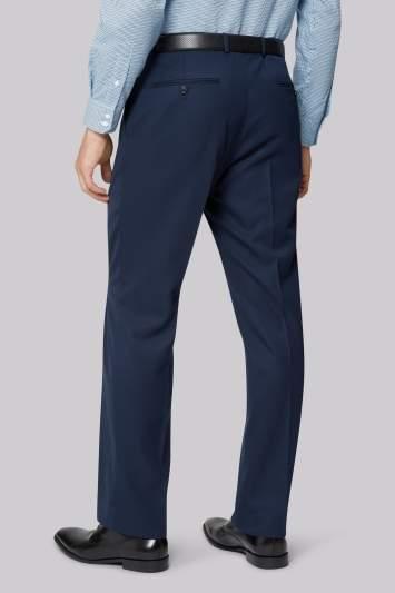 Moss Esq. Regular Fit Blue Twill Suit Pants