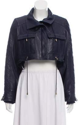 Balmain Cropped Leather Jacket