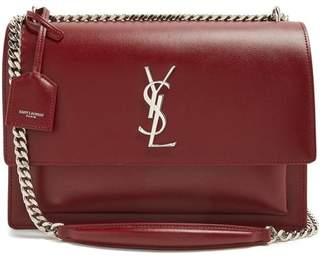 Saint Laurent Sunset Large Leather Shoulder Bag - Womens - Burgundy
