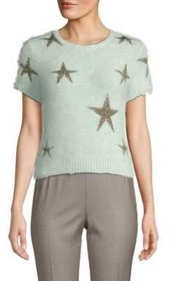 Valentino Avorio Short-Sleeve Sweater