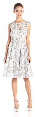 Betsy & Adam Women's Sleeveless Sequin Fit and Flare Dress with Belt $219 thestylecure.com