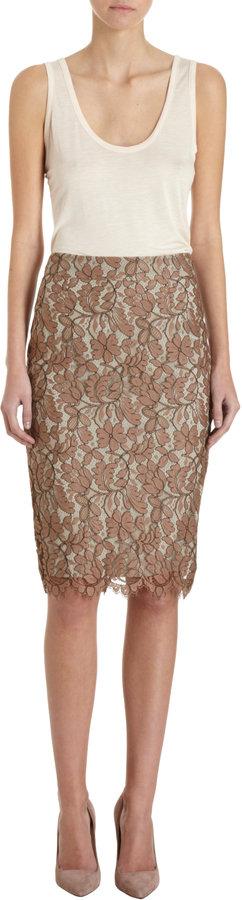 Barneys New York Lace Pencil Skirt