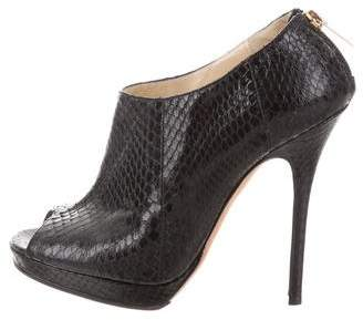 Jimmy Choo Snakeskin Peep-Toe Booties