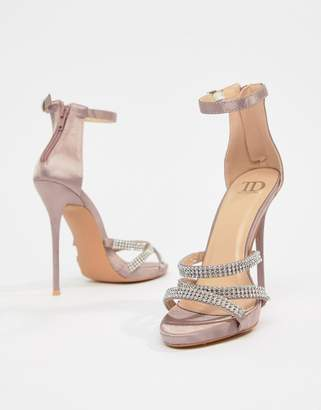 94e9d78ea4a True Decadence Blush Satin Embellished Strappy Sandals