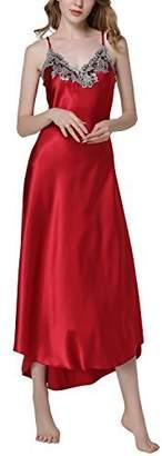 Dolamen Women s Nighties Satin Long Pyjamas Dressing Gown Nightgown  Lingerie Babydoll Chemise Nightdress 4e9723984