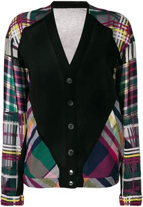 Sacai plaid panel cardigan