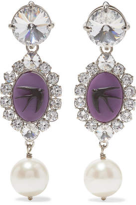 Miu Miu Silver-tone Multi-stone Clip Earrings - Purple