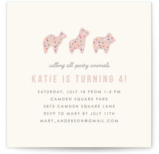 Animal Cookie Party Custom Selflaunch Stationery