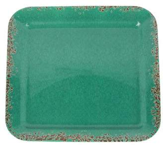 Studio California Mauna Square Serving Tray In Green Crackle Decal