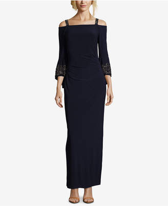 Betsy & Adam Beaded Cold-Shoulder Gown