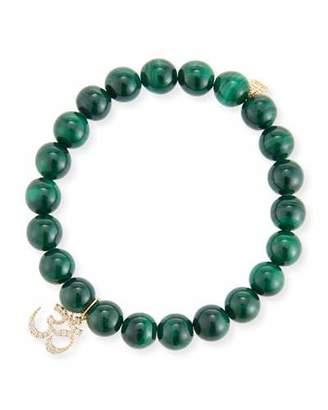 Sydney Evan 8mm Malachite Beaded Bracelet with Diamond Om Charm
