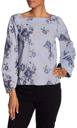 Laundry by Shelli Segal Floral Embroidered Pinstripe Blouse