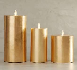 Pottery Barn Premium Flicker Flameless Gilt Pillar Candle - Gold