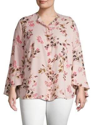 Vince Camuto Plus Floral-Print Long-Sleeve Top