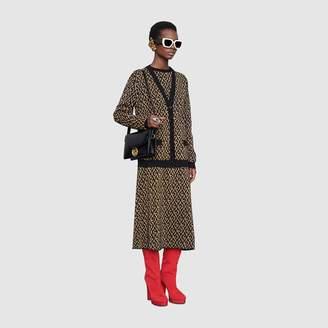 Gucci G rhombus lame wool jacquard cardigan