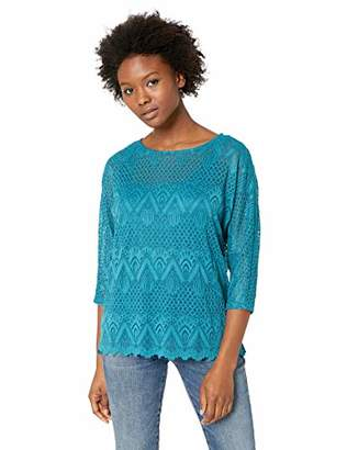 Ruby Rd. Women's Petite Size 3/4 Sleeve Scoop Neck Lace Top
