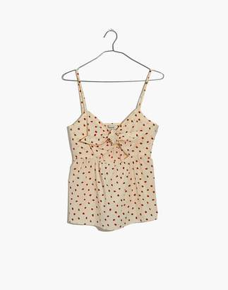 Madewell Tie-Front Keyhole Cami Top in Fresh Strawberries
