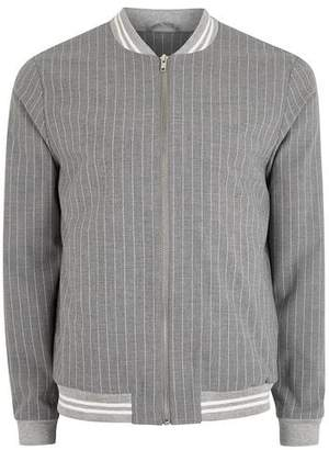 Topman Mens Blue Gray Pinstripe Smart Harington Style Bomber Jacket