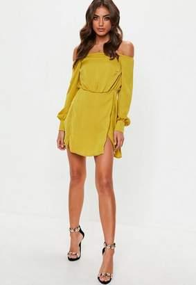 Missguided Yellow Bardot Mini Dress