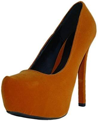 Qupid Women's Marquise06 Velvet Almond Toe Platform Stiletto Pump Velvet, 8