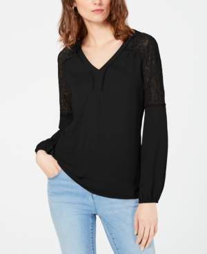 INC International Concepts I.n.c. Blouson Lace Woven Top, Created for Macy's