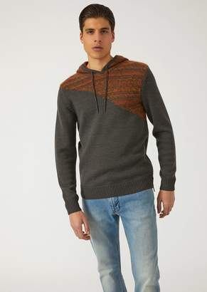 Emporio Armani Hooded Sweater With Jacquard Decoration On The Shoulder