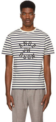 J.W.Anderson Navy and Off-White Striped Logo T-Shirt