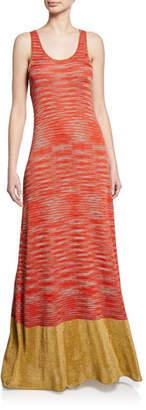M Missoni Sleeveless Space-Dye Knit Maxi Dress with Metallic Hem