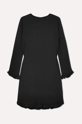 Ganni Ruffled Crepe Mini Dress - Black