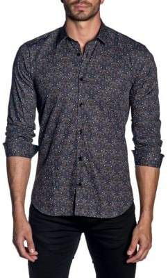 Jared Lang Woven Graphic Trim-Fit Button-Down Shirt