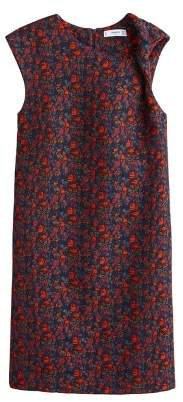 Textured floral-pattern dress