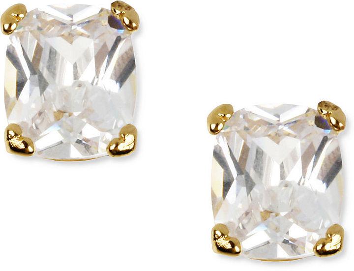 Betsey Johnson Earrings, Gold Tone Square Crystal Stud Earrings