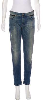 Each X Other Leather-Accented Mid-Rise Jeans