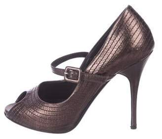 e768fb3dd1b7d Valentino Quilted Metallic Leather Peep-Toe Pumps