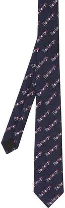 Burberry Slim Cut Archive Logo Print Silk Tie
