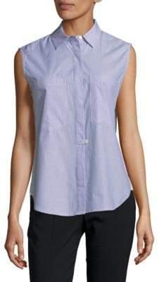 Derek Lam 10 Crosby Sleeveless Hidden Placket Cotton Button-Down Shirt