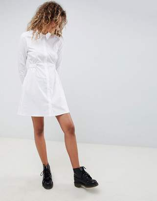 Asos Design DESIGN cotton gathered waist shirt mini dress
