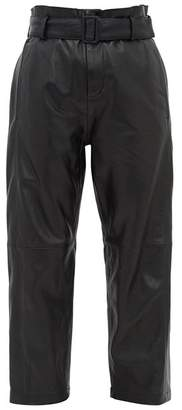 MM6 MAISON MARGIELA High Rise Belted Leather Trousers - Womens - Black