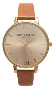 Olivia Burton Big Dial Stainless Steel & Leather-Strap Watch