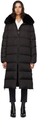 Yves Salomon Army Army Black Down and Fur Technical Doudoune Jacket