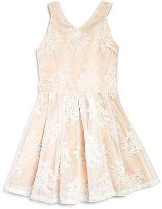 Miss Behave Girls' Embroidered Mesh Flared Dress - Big Kid $89 thestylecure.com