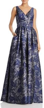 Carmen Marc Valvo Metallic Jacquard Gown