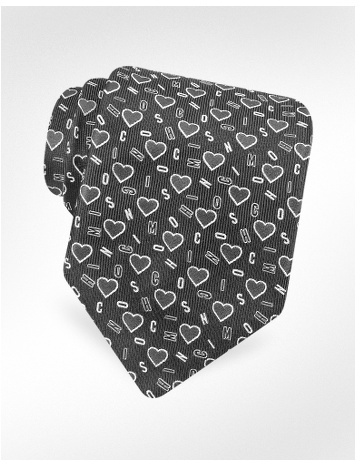 Moschino Signature Hearts Woven Silk Tie