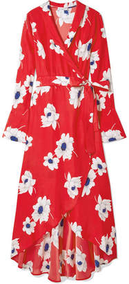 Equipment Gowin Floral-print Washed-silk Wrap Midi Dress - Red