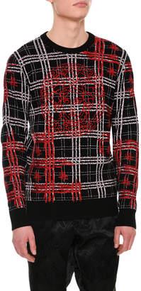 Versace Plaid Medusa-Stitched Wool Sweater