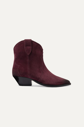 Isabel Marant Dewina Suede Ankle Boots - Burgundy