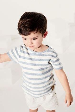 Boys Blue/White Knitted Stripe Tee (3mths-6yrs) - Blue